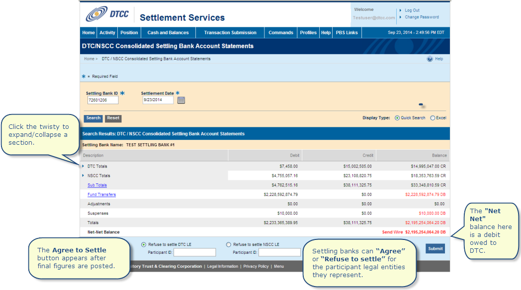 dtc nscc consolidated settling bank account statements