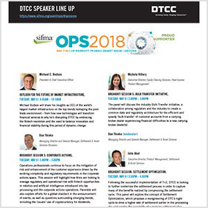 SIFMA Ops 2018: DTCC Executives to Speak on Panels